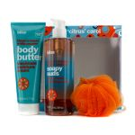 Bliss A Citrus Carol Set: Blood Orange + White Pepper Body Butter 200ml + Body Wash 473.2ml + Shower Pouf 3pcs